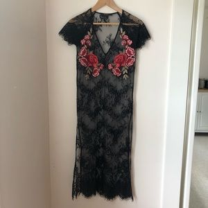 Sheer Black Lace Dress with Roses